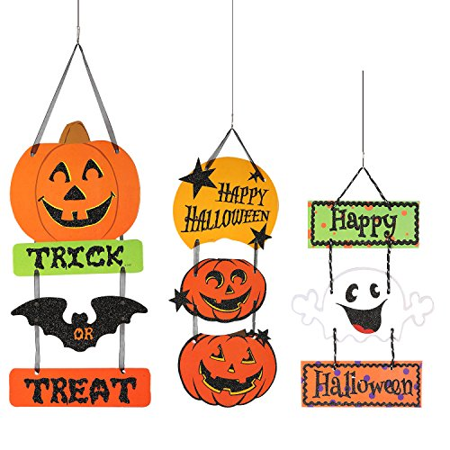 Resinta Halloween Trick or Treat Hanging Sign Decoration Happy Halloween Board Sign Door Wall Hanging Decoration for Halloween Party (Wood Halloween Decorations)