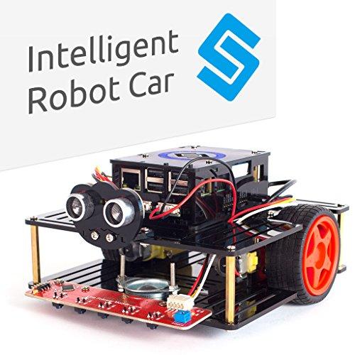 SunFounder AI Robot Car Smart Robot Kit Pi Smart Car Kit for Raspberry Pi 3 Model B+ 3B 2B B+ Smart Robot Car Speech Recognition Control Line Following Module Ul