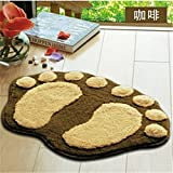 1 X L-zone Super Soft Nonslip Microfiber Lovely Flocking Big Feet Pad Floor Mat Bedroom Area Rug Carpet 58.5*38.5cm, 5 Colors Available (Coffee)