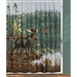 "Creative Bath Products Back Bay Moose Shower Curtain, 72"" x 72"""