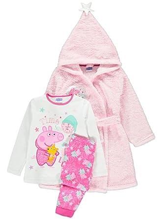 Peppa Pig Girls Fleece Hooded Dressing Gown & Pyjamas Robe (Age 4-5 ...