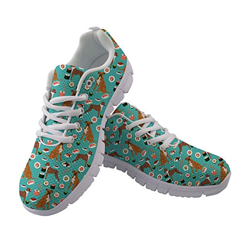 FOR U DESIGNS Women Shoes Sneakers Lace Up Animal Pit Bulldog Printing Lightweight Athletic Sneakers Size 40