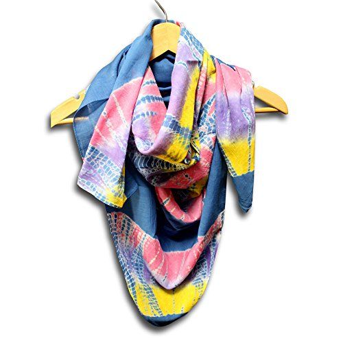 Homestead Women's Fashion Lightweight Tie Dye Scarf Sheer Soft 100% Cotton Neck Head Scarf (Blue, 42 x 42 inches)