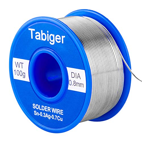 - Tabiger Solder Wire, 0.8mm Lead Free Solder Wire with Rosin2 Sn97 Cu0.7 Ag0.3, Tin Wire Solder for Electrical Soldering (0.22lbs/ 100g)
