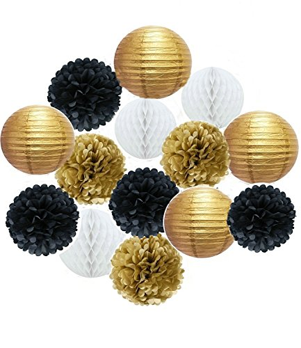 Since Set of 14 Pcs Mixed Hot Gold black and white color Paper lanterns, Paper balls, Paper Pom Poms Themed Party Hanging Decor Favor