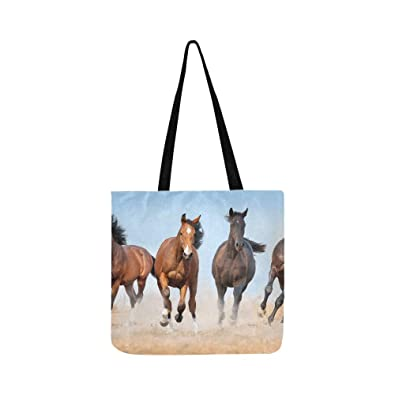 2ca33ef610a6 Amazon.com  Horse Herd Run Gallop With Dust Canvas Tote Handbag Shoulder Bag  Crossbody Bags Purses For Men And Women Shopping Tote  Shoes