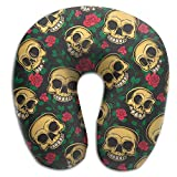 FJFASHION Mexican Style Skulls and Flowers U Type Travel Neck Pillows Super Soft Cervical Comfortable Pillows with Resilient Material