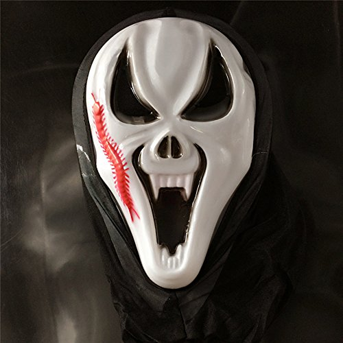[ARTIST Halloween Party Scary Faces Funny Dress Up Screaming Masks (Centipede face(1pcs))] (Jason Scary Costume)