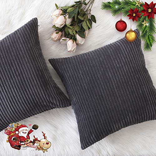 HOME BRILLIANT Set of 2 Throw Pillow Covers soft Velvet Corduroy Striped Square Cushion Cover for Couch, 20 x 20 inch(50cm), Dark Grey Black Friday & Cyber Monday 2018