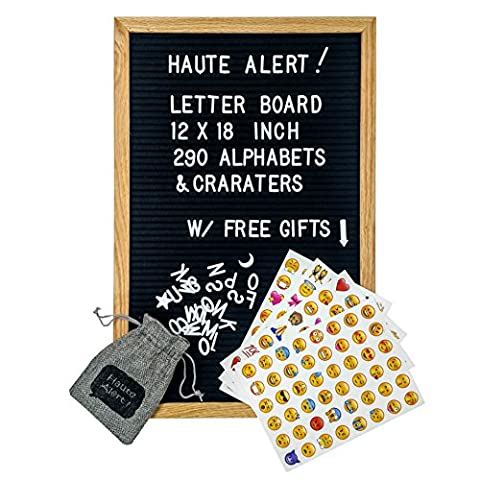 Letter Board - Felt Letter Board Black 12 x 18 inch Oak Frame - 290 Changeable White Plastic Letters - Open Face Bulletin Board - Vintage Wooden Message Board (12 x 18, Black - Oak - Message Board Letter