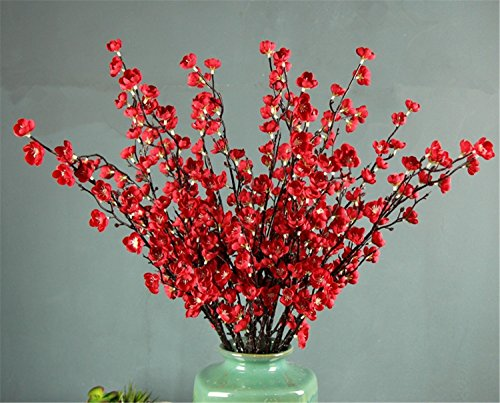 Skyseen 5Pcs Artificial Plum Blossom Branches Flowers Stems Silk Tall Fake Wintersweet Arrangements for Home Wedding Decoration,27.6 Inch (Red) -
