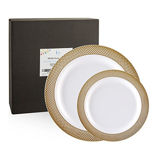 60 Pack Gold Plastic Plates, Disposable Wedding Plates, Elegant Party Plates Includes: 30 Dinner Plates 10.25 Inch and 30 Salad / Dessert Plates 7.5 Inch, White with Diamond Rim( IOOOOO)