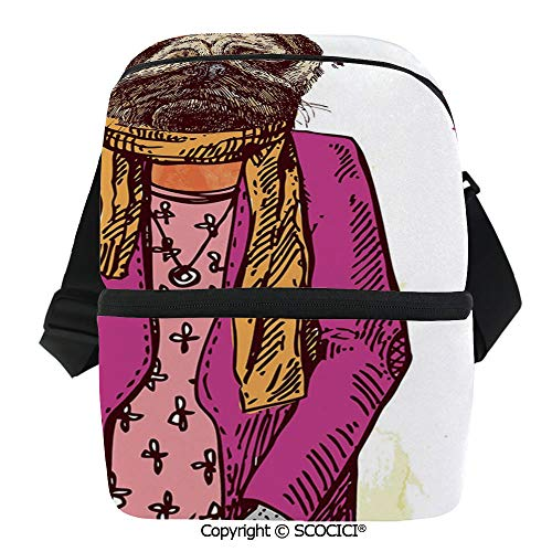 (SCOCICI Reusable Insulated Grocery Bags Fashion Icon Dog with Cool Clothes Scarf Necklace Jacket Handbag Tainted Background Thermal Cooler Waterproof Zipper Closure Keeps Food Hot Or Cold )