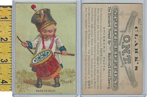 Victorian Card, 1890's, Clark's Thread, Hard To Beat, Boy Drum (B) ()