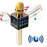 LUCOG Portable Wireless Karaoke Microphone with LED Light,Mini Handheld Cellphone Karaoke Player Aluminium Alloy Bluetooth Mic Machine for Home KTV,2600mAh【Gold】
