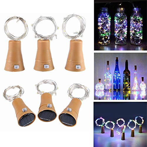 Wine Bottle Lights with Cork, Solar Powered LED Cork Shape Silver Copper Wire Colorful Fairy Mini String Lights for DIY, Party, Decor, Christmas, Halloween, Wedding, 6 Pack