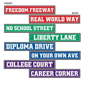 [Beistle 4-Pack Graduateuation Street Sign Cutouts, 4-Inch by 24-Inch] (Road Sign Halloween Costumes)