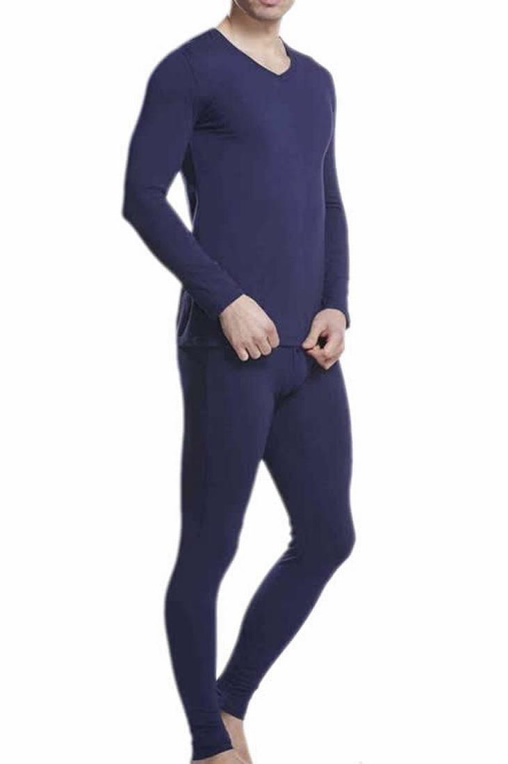 Smallwin Mens Casual Elastic Winter Warm Solid Pullover Pajama Set jewelry blue XL
