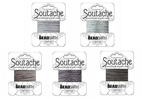 Soutache Cord - Beadsmith Soutache Braided Rayon Cord / Trim Bundle: 5 Colors, 3mm Wide, 3 Yds per color 'Silver-Grey