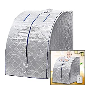 Homdox Lightweight Personal Portable Steam Sauna SPA Detox Weight Loss Indoor (Silver)