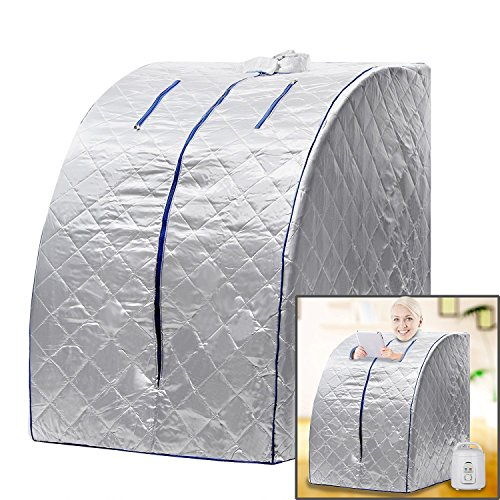 BATHWA Lightweight Personal Portable Steam Sauna SPA Detox Weight Loss Indoor (Silver) by BATHWA