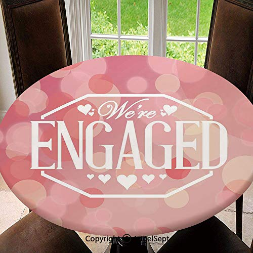 - Elastic Edged Round Tablecloth Engagement Party Cards with Blurry Abstract Circles for Thanksgiving, Catering Events, Dinner Parties, Special Occasions or Everyday Use, 55