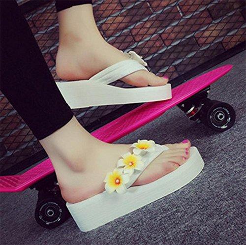 Simple pendiente con la palabra zapatillas deslizadores de fondo grueso zapatillas zapatos de playa de señoras 4