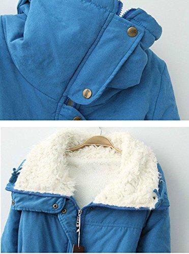 Gaorui - Abrigo - chaqueta guateada - Manga Larga - para mujer Azul