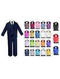 7pc Baby Toddler Boy Teen Party Wedding NAVY Suit set Satin Bow Tie & Vest 8-20