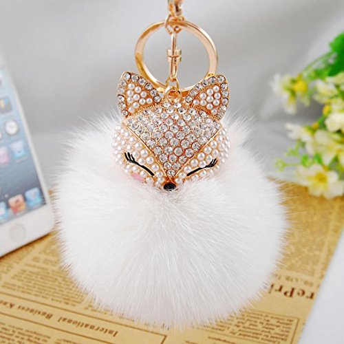Tenworld Real Fox Fur Ball with Artificial Fox Head Inlay Pearl Rhinestone Key Chain for Womens Bag or Cellphone (White)