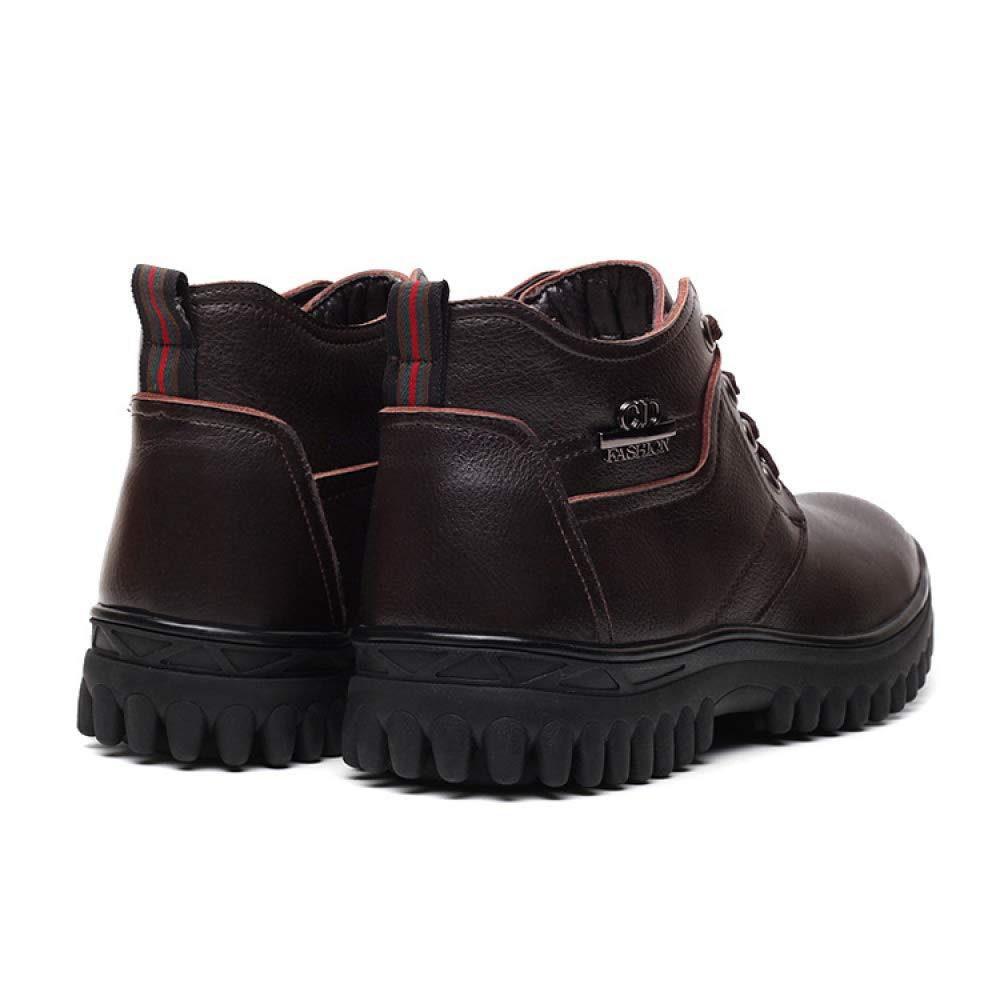 DZX Zapatos De Cuero Casuales Al Aire Libre De Invierno para Hombre Estilo Británico/Zapatos De Cuero Antideslizantes con Cordones Antirresbaladizos, ...