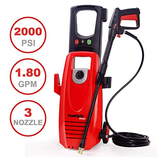 PowRyte 2000PSI 1.8GPM Electric Pressure Washer with 3 Quick-Connect Spray Tips, Onboard Detergent Tank by PowRyte