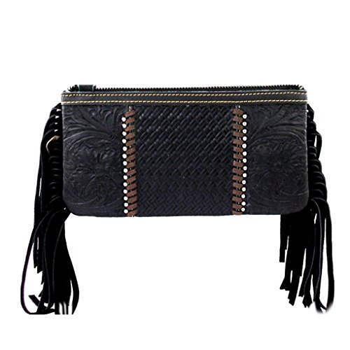 Bundle Handbag Studded Light Fob Black Clutch of Leather Fringe Flash Key w Purse amp; qrtrUwP