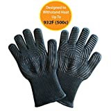 Grill Glove Set Of 2 - Grill Gloves Heat Resistant Extreme BBQ Gloves Oven Gloves Rated to 932f - Ideal Grilling Gloves by Grill Master (Black)