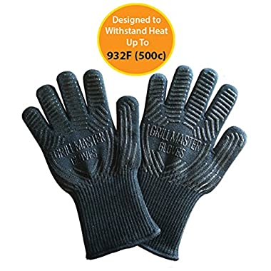 BBQ Gloves Grill Gloves - Heat Resistant Gloves Ideal Oven Grilling Cooking Gloves Rated to 932f by Grill Master (Black)