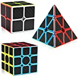 D-FantiX Carbon Fiber 2x2 3x3 Pyramid Speed Cube Bundle, Magic Cube Puzzle Toys for Kids