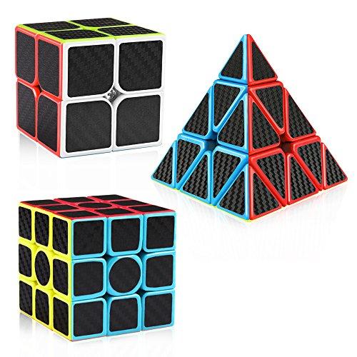 D-FantiX Carbon Fiber 2x2 3x3 Speed Cube Bundle, Magic Cube Puzzle Toys for Kids (Fiber Pack)