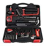 INTEY Household Tool Kit 57 Piece General Homeowner's Hand Repair Tool Kit with Plastic Storage Case