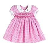 sissymini Infant and Toddlers Soft Cotton Fabric Hand Smocked Dress | Rosaline Paget's Rose Petal Plaid in Hot Pink 12M