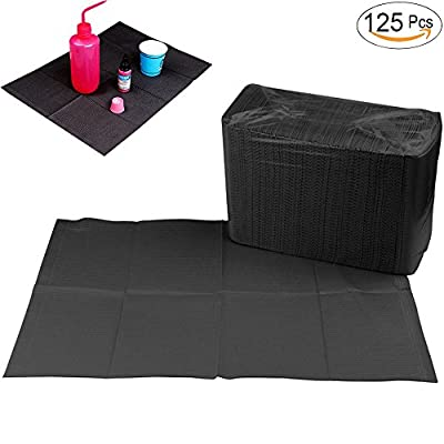 "Disposable Dental Bibs Sheets Cloths, Tattoo Table Covers Clean Pad,Underpad Hygiene Personal Medical Tattoo Bib Waterproof Tattoo TableCloth Tattoo Supply Sheet, 125pcs13"" X 17"" (Black)"