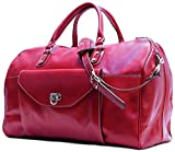 Floto Unisex [Personalized Initials Embossing] Monteverde Duffle Travel Bag in red