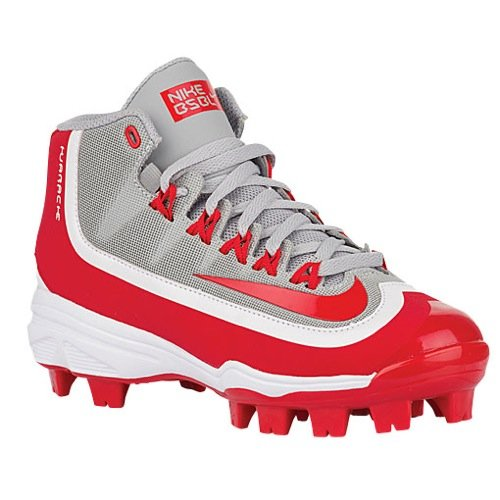 Nike Kids Huarache 2K Filth Pro Mid Baseball Little Kid/Big Kid Wolf Grey/White/University Red Kids Shoes by NIKE