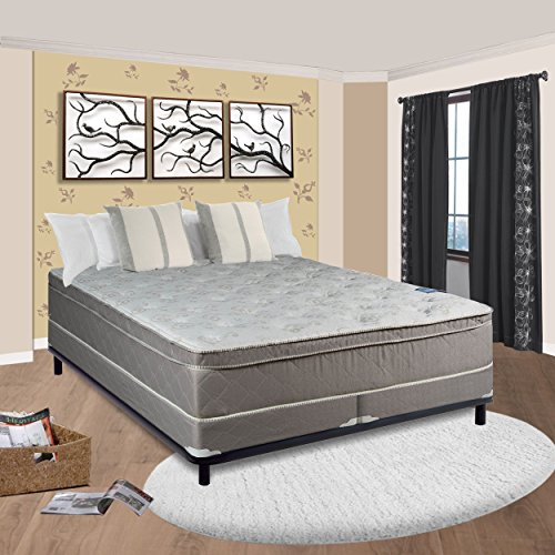 "Spinal Solution, 11-Inch Meduim Plush Foam Encased Hybrid Eurotop Pillowtop Innerspring Mattress And 4-Inch Split Wood Traditional Box Spring/Foundation Set, King Size 79"" x 78"""