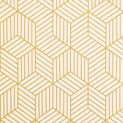 Gold and Beige Geometry Stripped Hexagon Peel and Stick Wallpaper Gold Stripes Wallpaper Luxury Contact Paper Removable Self Adhesive Vinyl Film Decorative Shelf Drawer Liner Roll 78.7