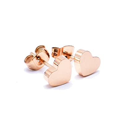 87ebcbe3fb579 14K Rose Gold Plated Stud Earring, Stainless Steel A Pair with Gift Box,  8mm Heart Earrings RE03