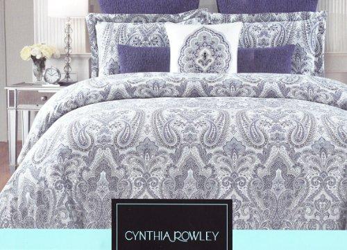 Cynthia Rowley Full / Queen Duvet Set Paisley Blue on White