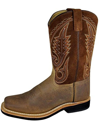 Smoky Mountain Boots Mens Boonville Brown Distress Leather Square Toe 9 (Square Toe Harness Boot)