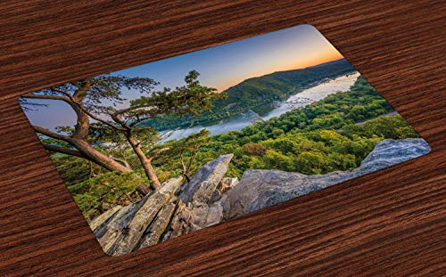 Lunarable Appalachian Trail Place Mats Set of 4, Panoramic Photo of Potomac River from Weverton Cliffs West Virginia, Washable Fabric Placemats for Dining Room Kitchen Table Decor, Multicolor