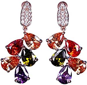Multi-color Drop Dangle Gold Plated Earrings
