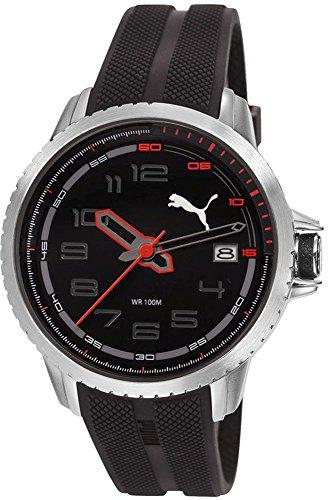 Puma Men's Quartz Stainless Steel and Rubber Watch, Color:Black (Model: PU103281004)